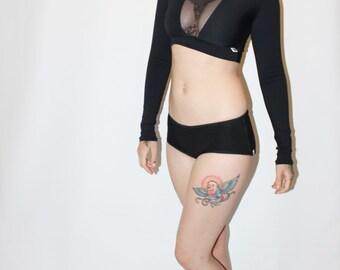Custom Extra Long Sleeve Crop Rashguard Swim Top with Sheer Mesh V /Any Size /30+ Colors /Made to Measure