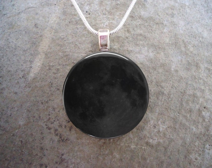 New Moon Pendant - Astronomy Jewelry - Science  - Glass Necklace