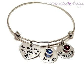 Mother Bracelet - Personalized - Expandable - Adjustable - Name Birthstone - You Are My Sunshine - Wire Bangle - Hand Stamped Jewelry