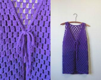 1970s purple crochet vest | 70's retro groovy | S to M | Elmira