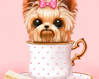 Teacup Yorkie Wall Art Print - Yorkshire Terrior, teacup puppy dog, pastel pink, dog lovers gift, pet portrait painting, 8x10