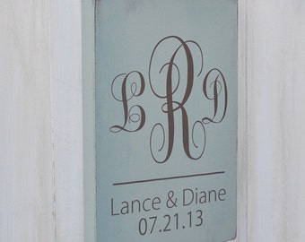 Custom Wedding Sign, Bridal Shower Gift, Wedding Gift, Anniversary gift, Engagement Gift, Monogram Sign