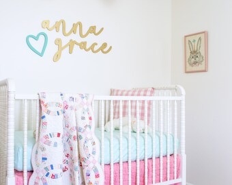 Baby Nursery Name Sign above Crib - First and Middle Name Sign - Baby Name Sign Nursery Wall Decor Above Crib