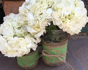 Mason Jar Wrap, LIME GREEN Lace Mason Jar Decoration, Wedding, Shower, Party, Centerpiece, Decoration