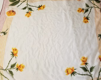 Vintage Yellow Flowered Head Scarf
