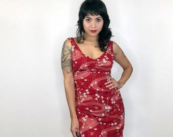 Red flower print dress