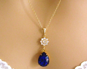 Royal Blue Necklace, Swarovski Necklace, Cobalt Blue Necklace, Blue Necklace, Crystal Pendant, Blue Crystal Necklace Blue Swarovski Necklace