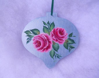 Roses Christmas Ornament - Floral Xmas ornament