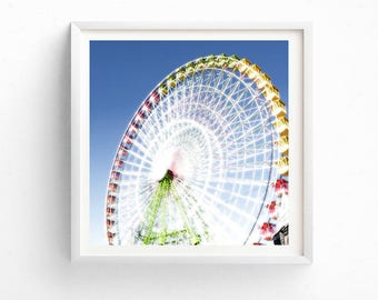 Child & Nuresery Decor, carnival photography, printable art, kids room decor, ferris wheel art, nursery decor, blue, instant download