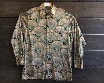 Vintage 70's Kimono Print Button-Up Shirt