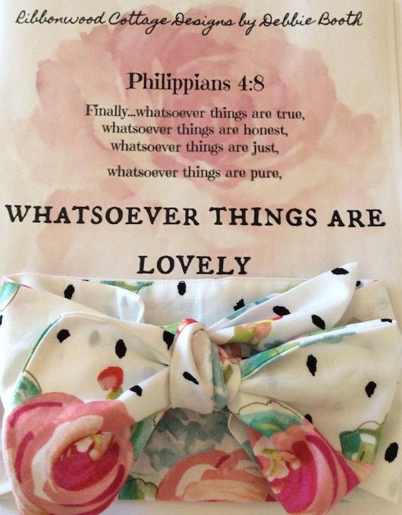 Baby Headband Head Wrap- Pink Roses and Black Polka Dots
