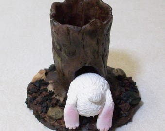Miniature tree stump and bunny butt: Fairy garden or terrariums Polymer clay rustic tree stump