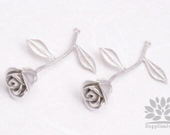 P453-MR// Matt Original Rhodium Plated Single Rose Pendant, 1pc