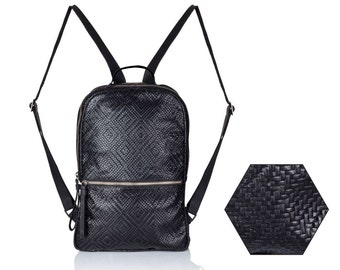 Backpack woven black leather backpack women laptop Leather bag SALE travel leather backpack- leather rucksack leather back bag laptop JUDtlv