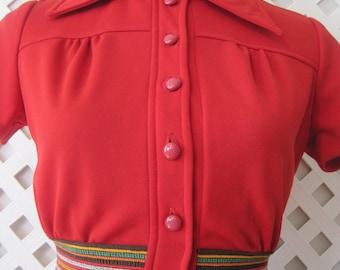 Womens Vicky Vaughn Above Knee Summer Career Boho Hippie Red Short Sleeve Dress Half Button Size S Vintage Dress150s