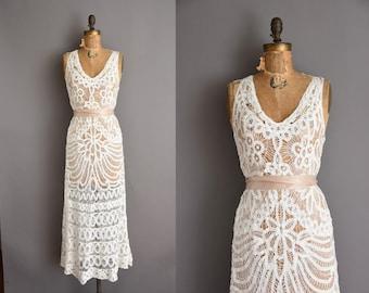 1930s vintage  inspired white battenberg lace wedding dress Art Deco full length 30s Medium Large vintage dress