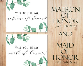 Will you be my matron of honor card Printable maid of honor card Greenery wedding card Matron of Honor Proposal Bridal Party Cards