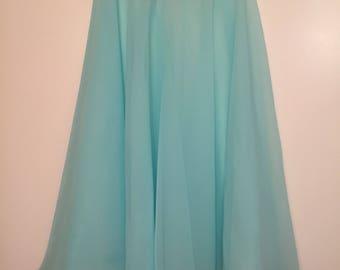 Knee Length Chiffon Ballet Skirt in Aqua (Pull Up)