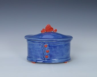 Ceramic jewelry box with lid, stoneware trinket box with lid,  pottery keepsake box with lid