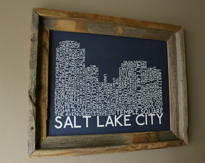 Salt Lake City Skyline Word Art Print (Dark Blue) - Unframed