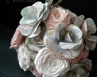 Map Bouquet, Paper Bouquet, Alternative Bouquet, Keepsake Bouquet, Paper Wedding Flowers, Faux Bouquet, Fabric Bouquet, Forever Bouquet