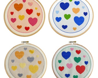 Nursery Embroidery Pattern Beginner | Embroidery Hoop Art | Beginner Embroidery Kit | DIY Embroidery Design | Hand Embroidery Pattern Hearts