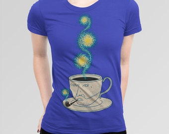 Starry Night Coffee Art T-shirt, All Sizes