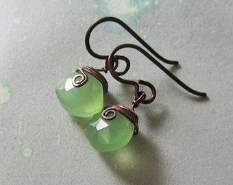 Chalcedony Earrings, handmade.  Lime Green, Copper.  Lady Lilliane