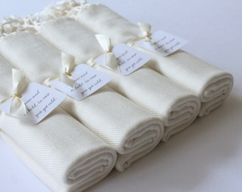 PASHMINA SHAWLS set of 4 - Ivory Cream Wraps - Keepsakes - Favors - Guests of Honor - Shawls for Bridesmaids - Wedding Accessories