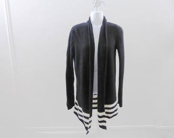 100% Cashmere Sweater Size M Black White Stripes Swing Cardigan Drape Tunic