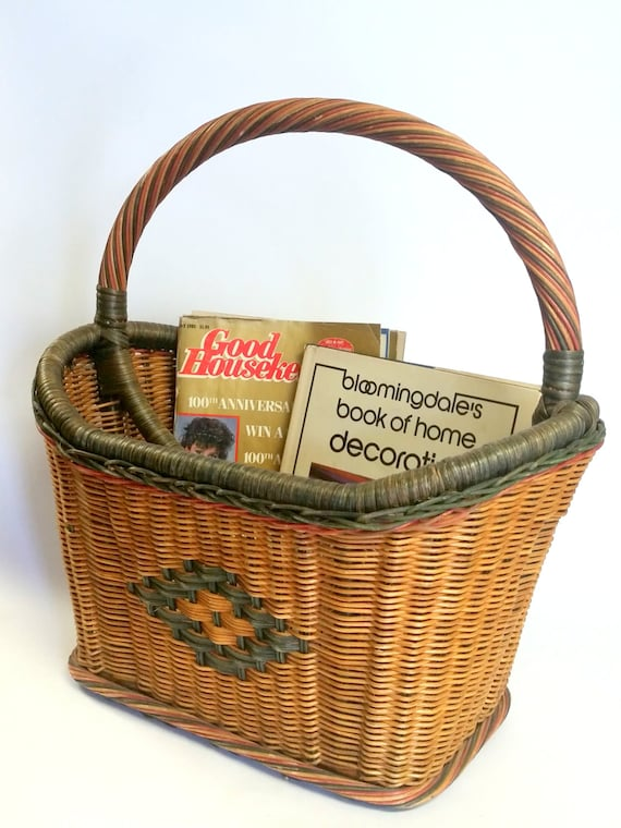 """Vintage Large Quantity Wicker Wood Basket Magazine Rack Stand 2 Compartments-""""Ships International"""" Email For Rates"""