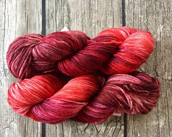 Painting the Roses Red - Hand Dyed Yarn - Superwash Merino Worsted Weight Yarn