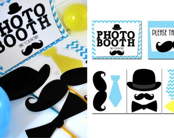 Mustache Photo Booth Props and Signs Instant Download Print it Yourself