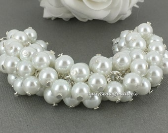 Pearl Cluster Bracelet White Pearl Bracelet Pearl Jewelry Bridesmaid Bracelet Bridesmaids Gift for Her Budget Jewlery Gift for Maid of Honor