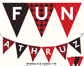 Banner, Buffalo Plaid, Dots, Red & Black, Letters A - Z, Numbers 1 - 10, Printable DIY
