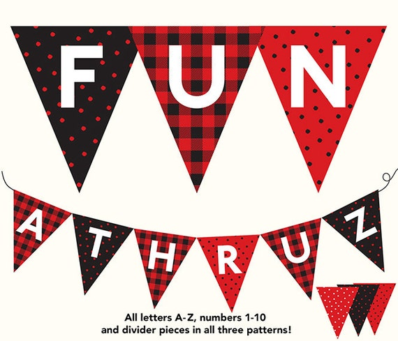 Banner buffalo plaid dots red black letters a z spiritdancerdesigns Image collections