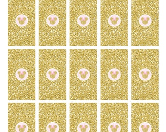 Minnie Mouse Candy Bar Wrappers, Gold Glitter, Pink, Mini Chocolate Bar Wrappers,  Printable, Instant Download