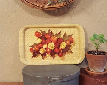 "Vintage floral tin tray / Small 14"" rectangular vintage tray"