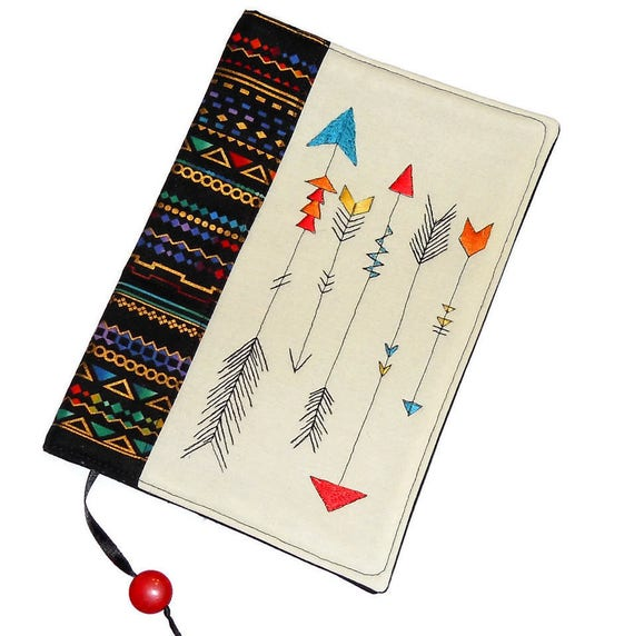 Reusable Fabric Book Cover : Arrows fabric book cover reusable case travel journal