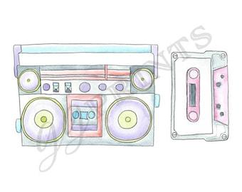 Retro Music Clipart // Boombox Cassette Tape