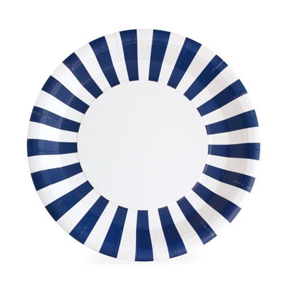 $7.50  sc 1 st  Etsy Studio & Navy Blue Dinner Plates / Navy Striped Paper Plates / Navy Paper ...
