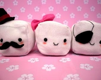 Kawaii Handmade Tofu Collectable Plushes! Gentleman Tofu, Girl Tofu & Pirate Tofu Collect Them All!!!