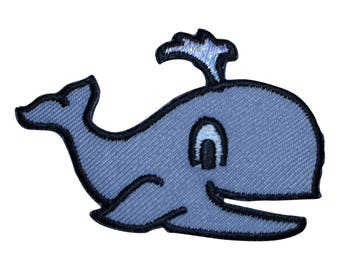 Gray Smiling Whale with Spout Applique Patch (Iron on)