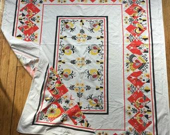 1940s Yellow Rooster Cotton Tablecloth Red Yellow Black and White