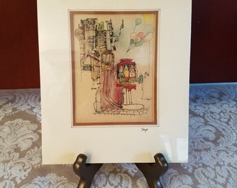 1975 San Francisco Watercolor Street Scene Signed By Local Street Artist