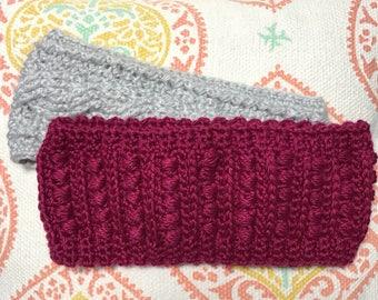 Crocheted Bean Stitch Ear Warmer Headband