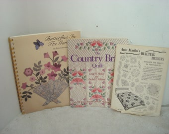 Vintage Quilting Pattern Books Butterflies In The Garden by Pat Andreatta 1992 The Country Bride Quilt 1988 & Aunt Martha's Quilting 3366