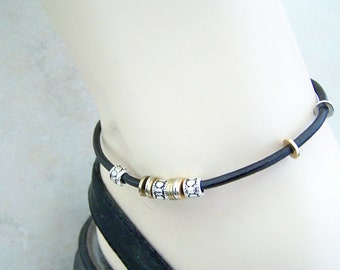 Ankle Bracelet, Black or Brown Leather Anklet, Single Leather Anklet  Size 6-12 Inch Ankle