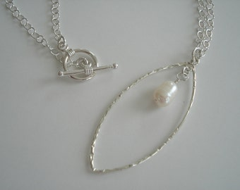 Long pendentif Perle en argent massif, collier de perles, pendentif en argent, bijoux en perle crème de riz
