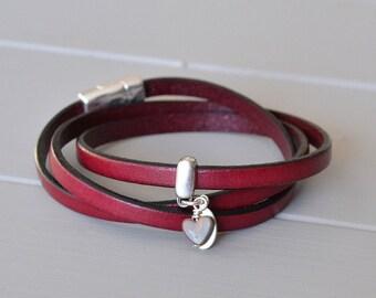 Friendship Bracelet, Burgundy Leather Bracelet, Heart Bracelet, Leather Wrap Bracelet